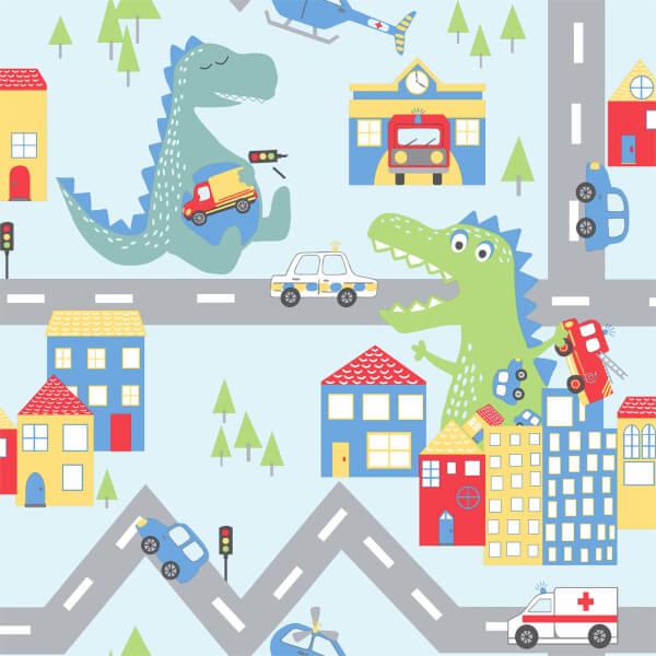 Holden Decor Dino Road Dinosaur Smooth Multi Coloured Wallpaper