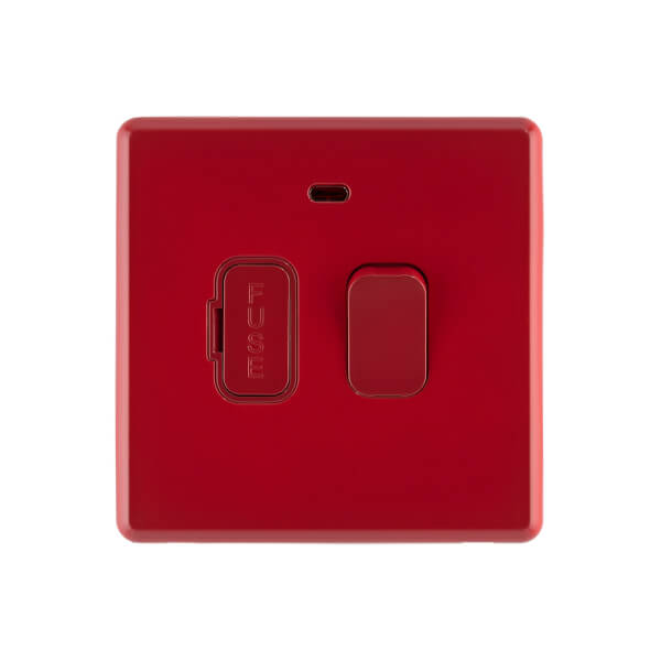 Arlec Rocker  13A Cherry Red Switched fused connection unit