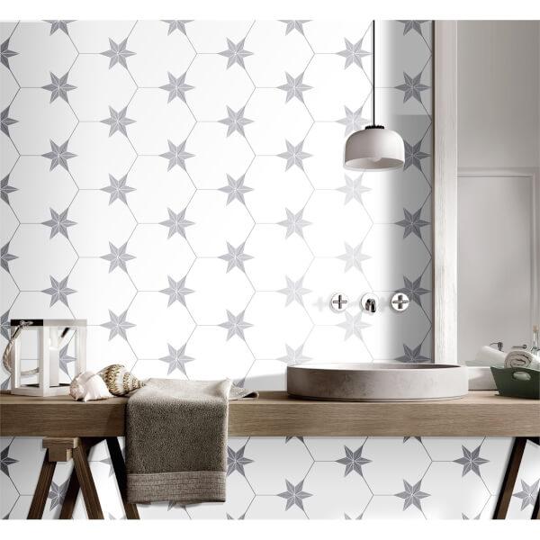 Hexagon Pattern Wall & Floor Tile - 250 x 220mm