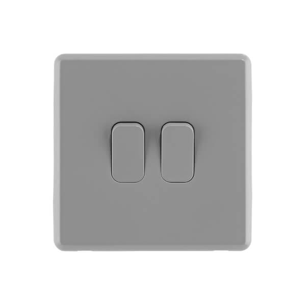 Arlec Rocker 10A 2Gang 2Way Stone Grey Double light switch