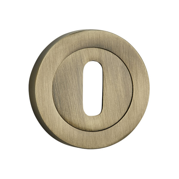 Sandleford Round Keyhole Escutcheon - Antique Brass