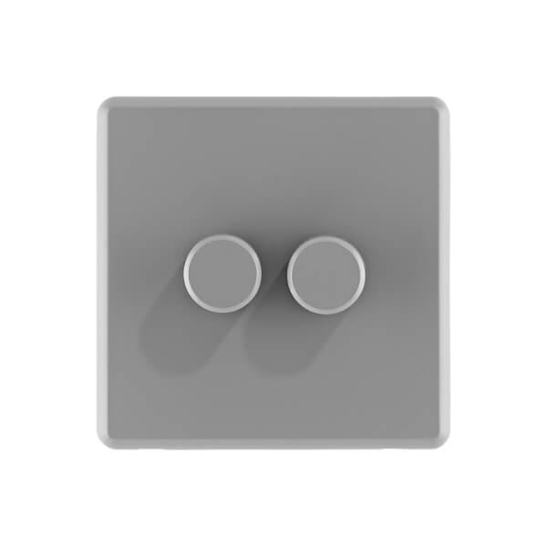 Arlec Rocker 2 Gang 2 Way Stone Grey Dimmer switch