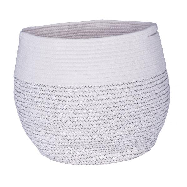 Round Cotton Basket - Black Stitched