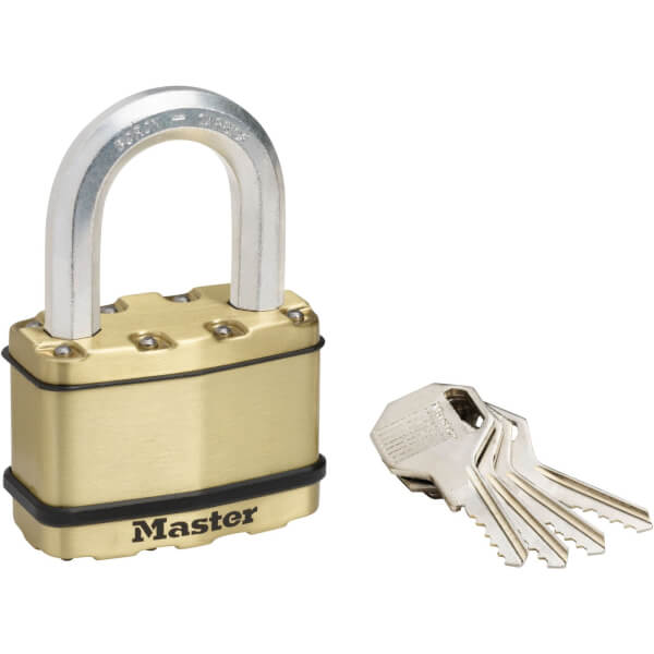 Master Lock Excell Laminated Steel Padlock with Brass Finish - 64mm