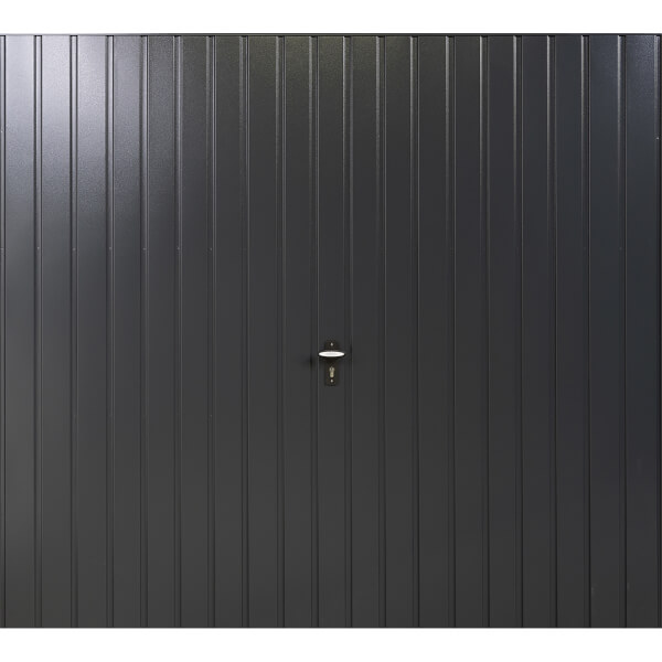 Vertical 7' x 7' Frameless Steel Garage Door Anthracite Grey