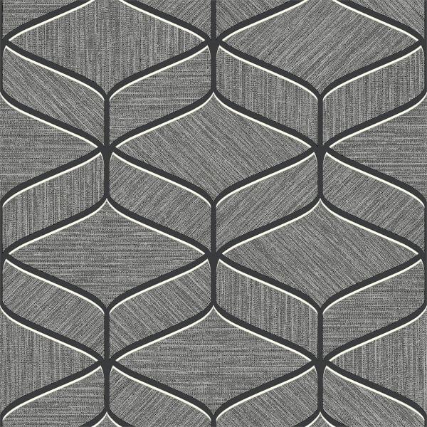 Belgravia Decor Luciano Geometric Embossed Metallic Gunmetal Grey Wallpaper