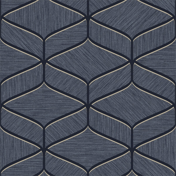 Belgravia Decor Luciano Geometric Embossed Metallic Navy Wallpaper