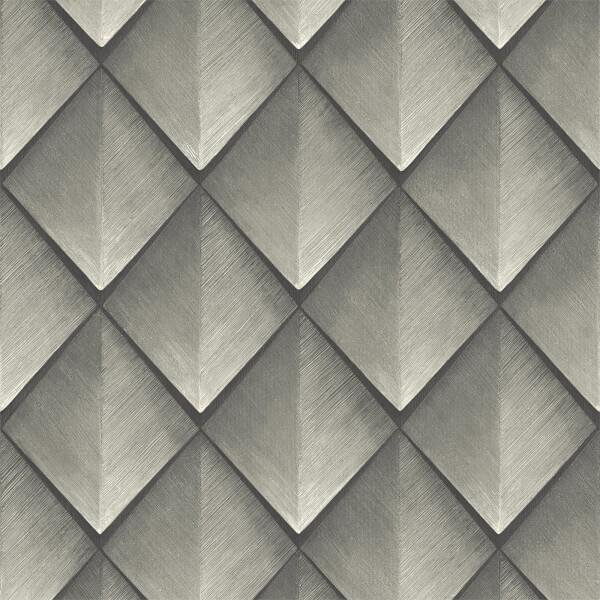 Belgravia Decor Callisto Geometric Embossed Metallic Silver Wallpaper