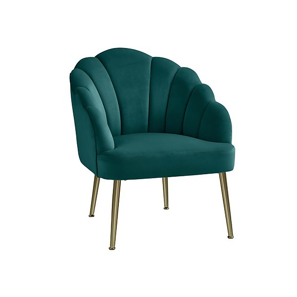 Sophia  Scallop Occasional Chair - Teal