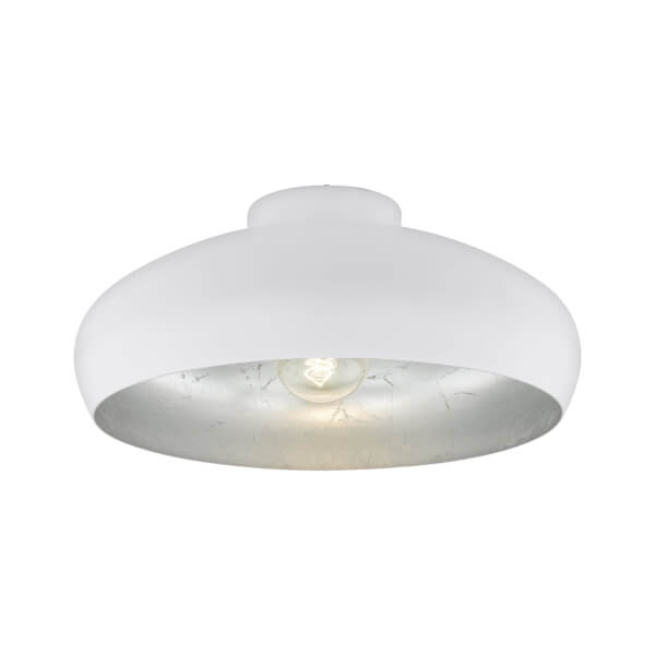 Eglo Mogano Flush Light - White & Silver