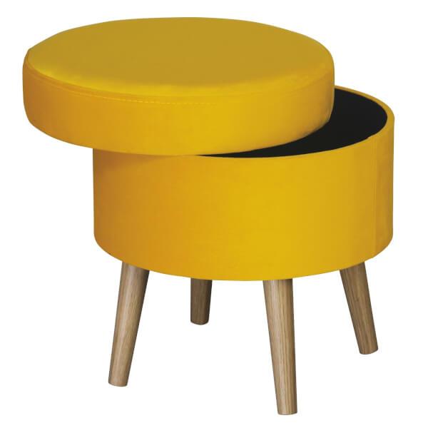 Round Storage Stool Velvet - Ochre