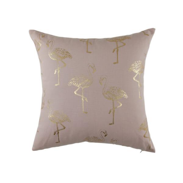 Gold Flamingo Print Cushion - Blush