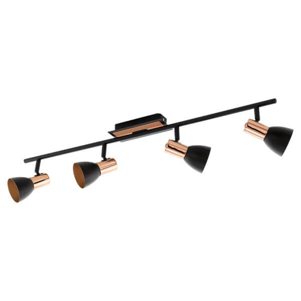Eglo Barnham 4 Light Spotlight - Black & Copper