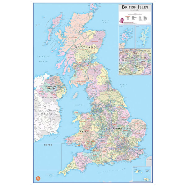 Wallpops 24 x 36 Inch British Isles Dry Erase Map