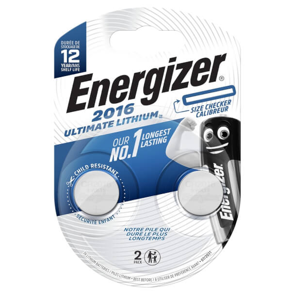 Energizer CR2016 Ultimate Lithium Coin Battery - 2 Pack