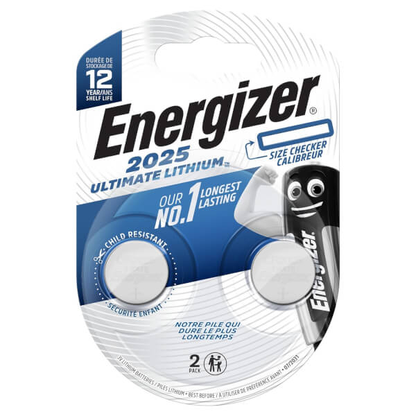 Energizer CR2025 Ultimate Lithium Coin Battery - 2 Pack
