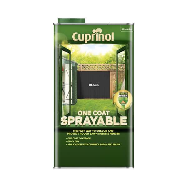 Cuprinol One Coat Sprayable Shed & Fence Paint - Black - 5L