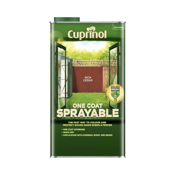 Cuprinol One Coat Sprayable Shed & Fence Paint - Rich Cedar - 5L