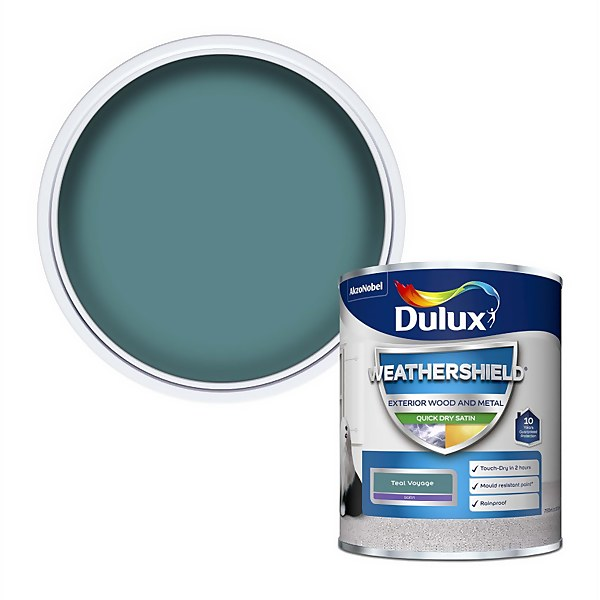 Dulux Weathershield Quick Dry Satin Paint - Teal Voyage - 750ml