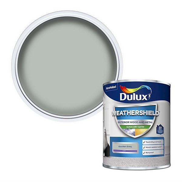 Dulux Weathershield Quick Dry Satin Paint - Garden Grey - 750ml