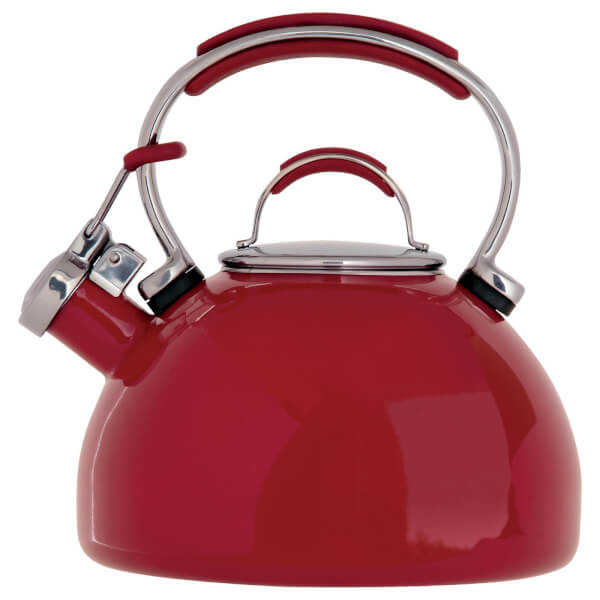 Prestige Enamel 2 Litre Stove-Top Whistling Kettle - Red