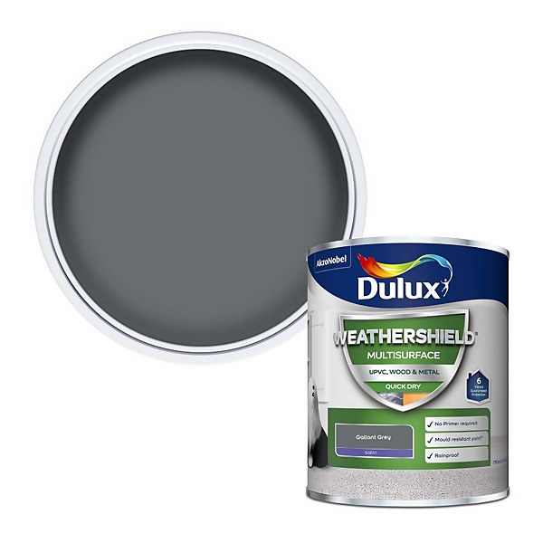 Dulux Weathershield Multi Surface Paint - Gallant Grey  - 750ml