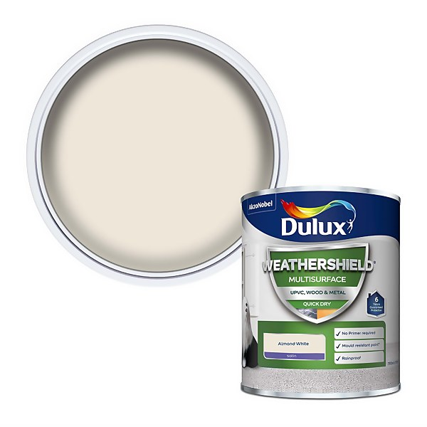 Dulux Weathershield Multi Surface Paint - Almond White - 750ml