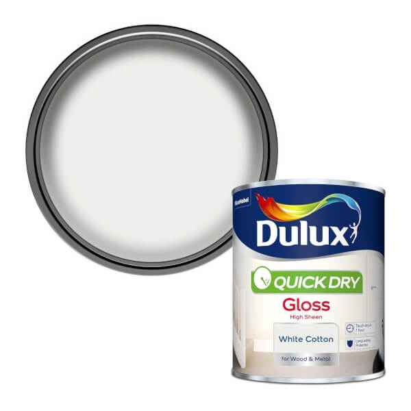Dulux Quick Dry Gloss Paint - White Cotton - 750ml