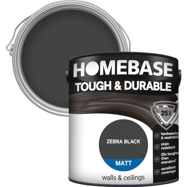 Homebase Tough & Durable Matt Paint - Zebra Black 2.5L