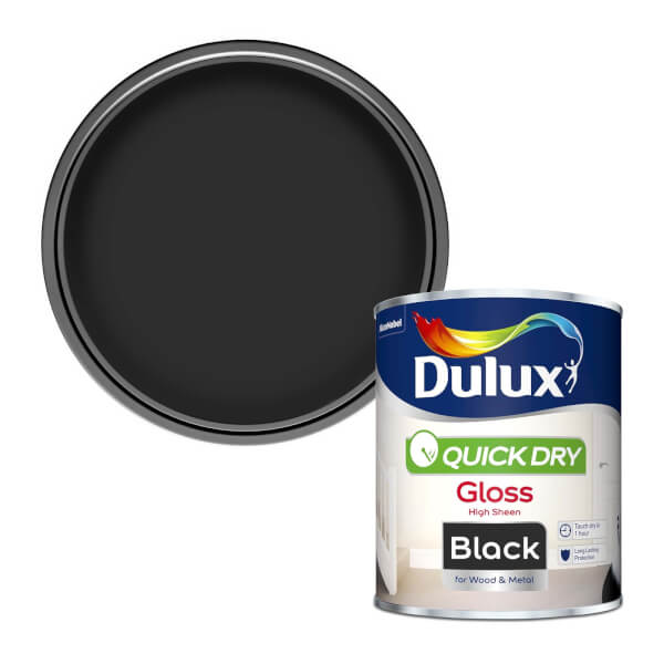 Dulux Quick Dry Gloss Paint - Black - 750ml