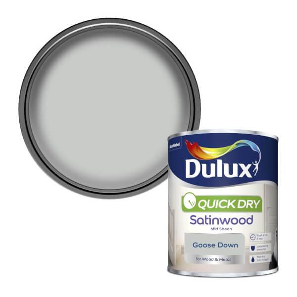 Dulux Quick Dry Satinwood Paint - Goose Down - 750ml