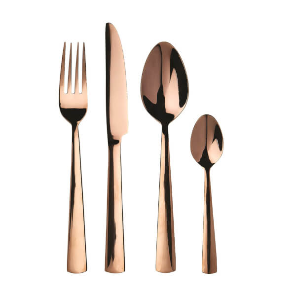 Avie Lustra Cutlery Set - Rose Gold - 16 Pieces