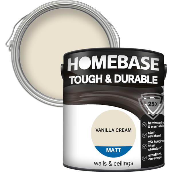 Homebase Tough & Durable Matt Paint - Vanilla Cream 2.5L