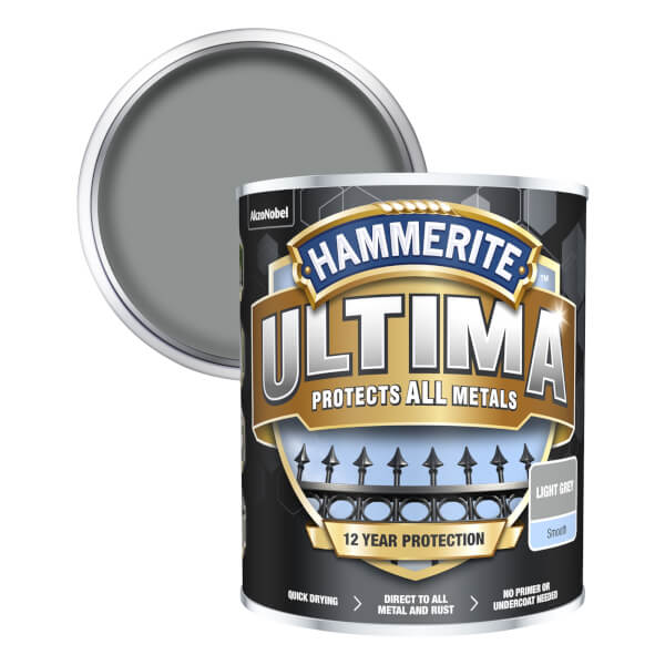 Hammerite Ultima Smooth Metal Paint - Light Grey - 750ml