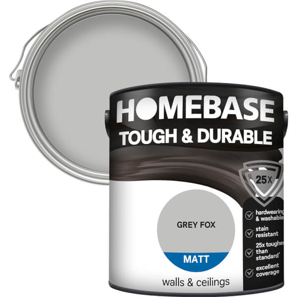 Homebase Tough & Durable Matt Paint - Grey Fox 2.5L