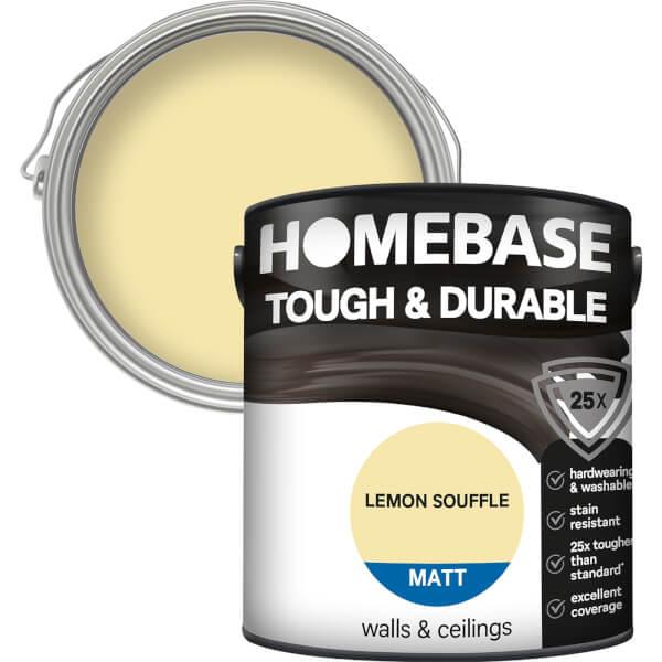 Homebase Tough & Durable Matt Paint - Lemon Souffle 2.5L