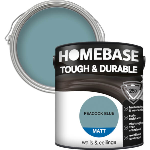 Homebase Tough & Durable Matt Paint - Peacock Blue 2.5L