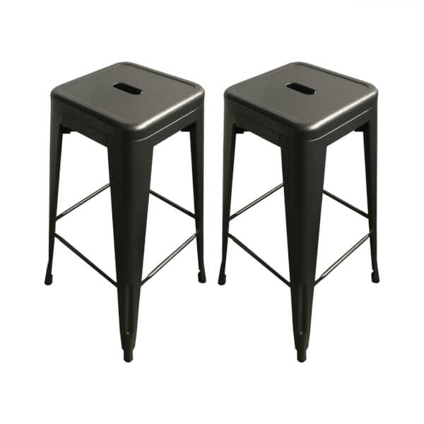 Pair of Metal Bar Stools - Grey