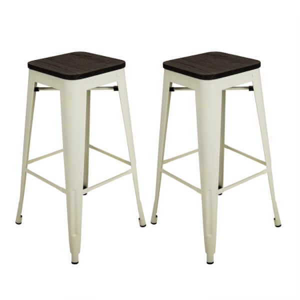 Pair of Metal & Wood Bar Stools - Cream