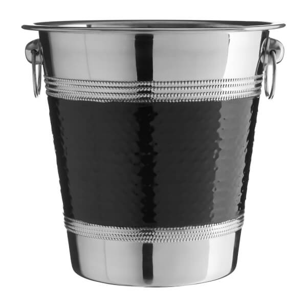 Champagne Wine Bucket - Hammered Black Band