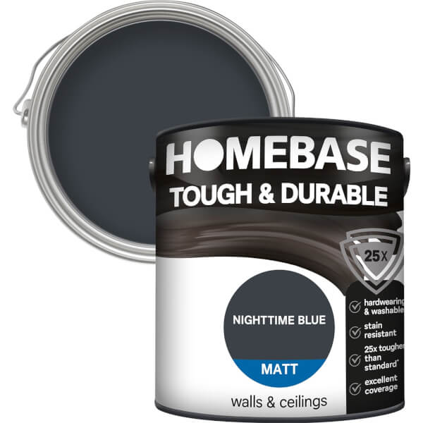Homebase Tough & Durable Matt Paint - Nighttime Blue 2.5L