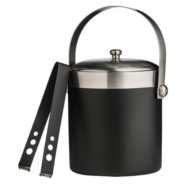 Ice Bucket with Tongs - Black Enamel