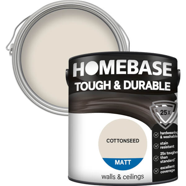 Homebase Tough & Durable Matt Paint - Cottonseed 2.5L