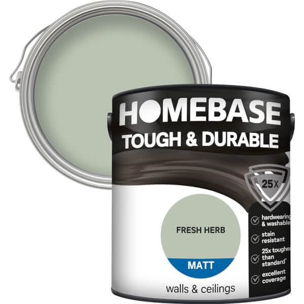 Homebase Tough & Durable Matt Paint - Fresh Herb 2.5L