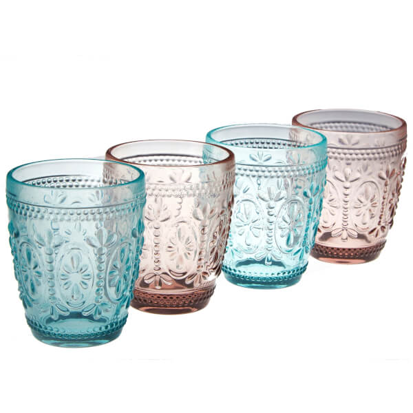 Fleur Glass Tumblers - Set of 4 - 2 Pink & 2 Blue