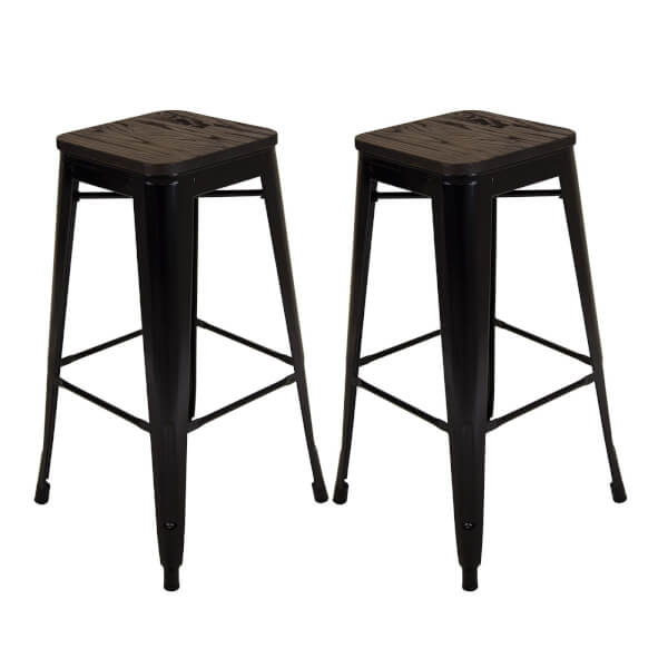 Pair of Metal & Wood Bar Stools - Black