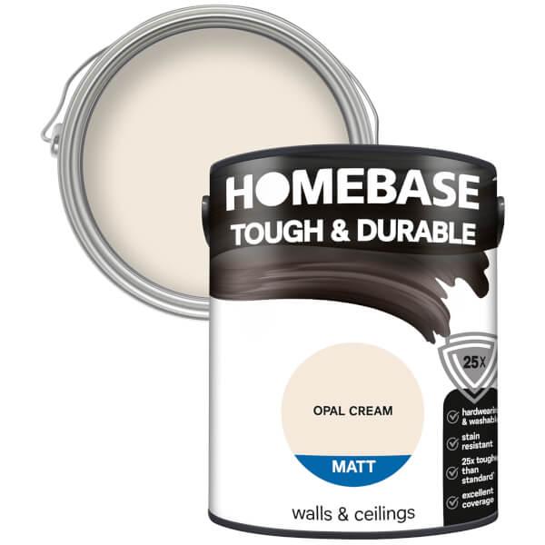 Homebase Tough & Durable Matt Paint - Opal Cream 5L