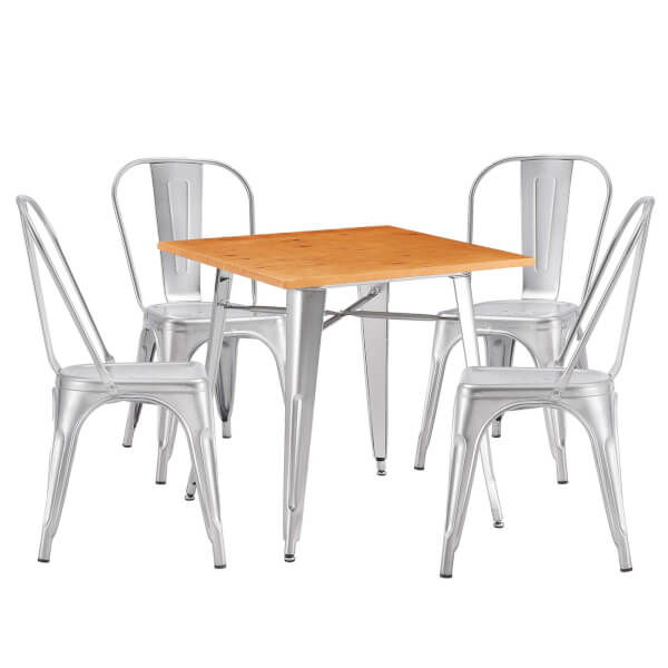 Billy Bistro 4 Seater Dining Set - Steel