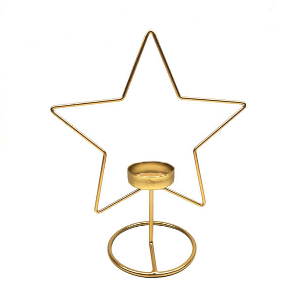 Gold Wire Star Candle Holder