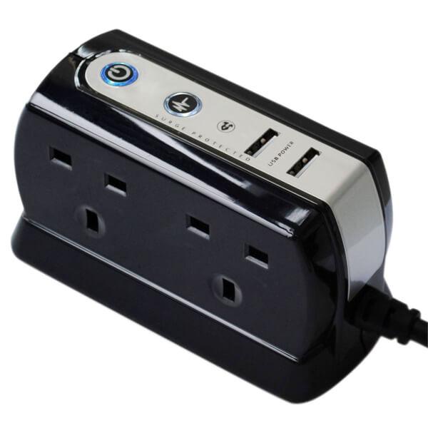 Masterplug 4 Socket 2 USB Surge Compact Extension Lead 2m Gloss Black